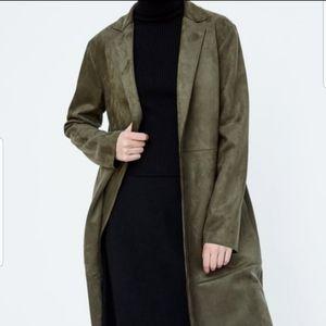 New zara Military green oversize long coat jacket